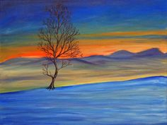 SALE!! 20% OFF everything in shop now until Dec 13!!! Use coupon code XMASPRESENTS! Title: Solitaire    Original 18 x 24 snowy landscape painting of a single tree silhouetted against a mountain sunset.