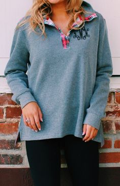 How perfectly preppy is this NEW Monogrammed Snap Pullover from Marleylilly.com? Wait till y'all see the back and the other color it comes in! Go check it out now at Marleylilly.com!