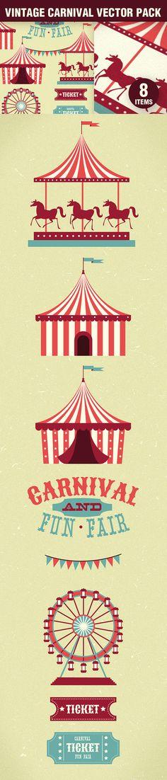 Designtnt - Vintage Carnival Vector Set 1