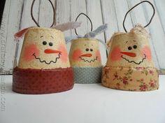 Antique Clay Pot Snowman Ornaments