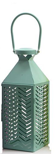 Fancy Fair Teal Blue Chevron Patterned Pillar Candle Lantern 10 ** Details can be found by clicking on the image.