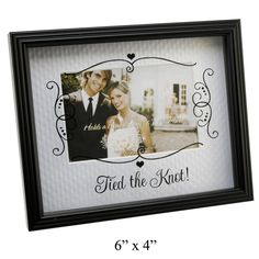 """Tied The Knot! 6"""" X 4"""" Glass Sketchy Cartouche Photo Frame Gifts Wedding Gift"""