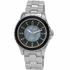Breda Women's 5182-black Sophia Oversized Unidirectional Black Accented Bezel Watch Breda. $31.08. Water-resistant - not recommended to take into water or shower. Unidirectional sleek bezel with black accent. Silver three link metal band; fold over clasp with push buttons. Black mother of pearl center with indiglo index and rhinestone accents; indiglo hour and minute hands. Highest standard quartz movement. Save 42%!