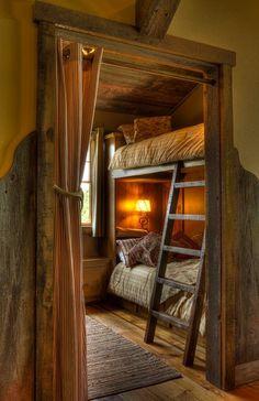 Bedroom Bunks with Ladder rustic kids