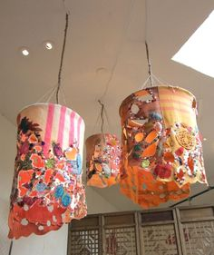 do it yourself lanterns by free people. So cute!!  Things you need: circle frame from Michaels, string/yarn, & fabric