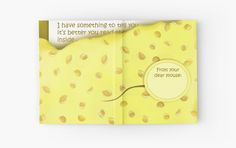 'Cheesy News: Have Something to Tell?' Hardcover Journal by We ~ Ivy Presents For Friends, Good Cause, Beach Towel, To Tell, Ivy, Journals, Told You So, Messages, Gift Ideas
