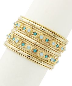 Another great find on #zulily! Gold & Blue Touch of Jewels Bangle #zulilyfinds