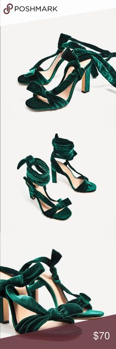 Zara emerald green velvet lace-up heel sandals 7.5 Sz US 7.5 EU 38, I will post the actual heels by tomm. Comes with dust bag and in original box.perfect for the upcoming season and on trend with the velvet trend. Zara Shoes Heels