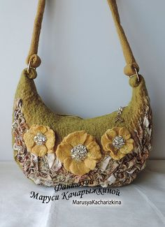 e0b43abe3c8 Wool felted purse with flowers, Shoulder Bag, Wool Purse, Felted handbag  Felt Purse