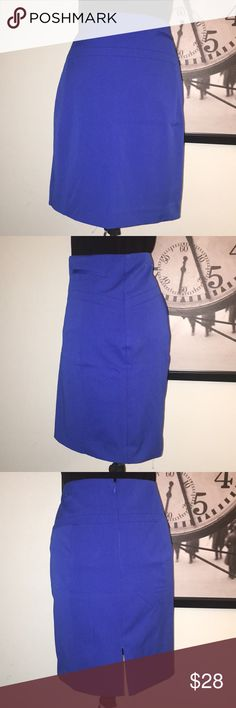 """Blue Express Pencil Skirt Blue Express Pencil Skirt. Back Zip with too hook closure and bottom split. Outside Shell has very little to no stretch and is made of 67% Polyester 28% Viscose and 5% Spandex.  Inside lining is 95%% Polyester and 5% Spandex. Flat lay measurements waist 16"""", length 19 1/4"""". NWOT. Tag seems on back are still there. Express Skirts Pencil"""