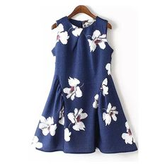 Flower Print Flare Sun Navy Dress (12.510 CLP) ❤ liked on Polyvore