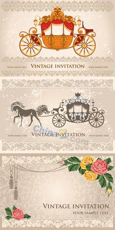 Deluxe invitations vector material download