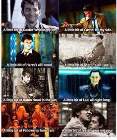 Mambo Number 5: Fandom Edition. #DoctorWho #Supernatural #HarryPotter #Merlin #RobinHood #Loki #LOTR