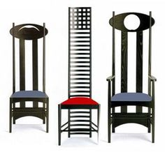 High back chairs featuring the Mackintosh style of narrowed backs and industrial metals.