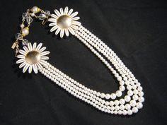 Vintage Necklace Vintage  Enamel Flower by JenniferJonesJewelry, $126.00