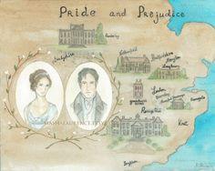 Map of Pride and Prejudice art print.  8x10.  Jane Austen. Mr.Darcy. Elizabeth Bennet.