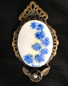 Large Brooch hand painted blue flowers by CarolinaRain, $18.00