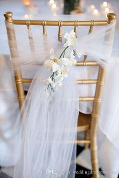 Tulle (or net! 7 Stylish Wedding Chair Covers - tulle (via afloral) Wedding Chair Decorations, Wedding Chairs, Wedding Reception, Wedding Gowns, Wedding Sash, Wedding Tables, Wedding Venues, Reception Ideas, Wedding Chair Sashes