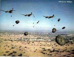 Rhodesian Light Infantry parachuting in during the Bush War, 1970s.