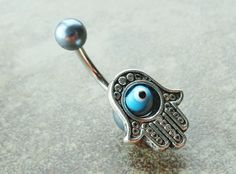Hamsa Hand Belly Button Ring Evil Eye Belly Jewelry