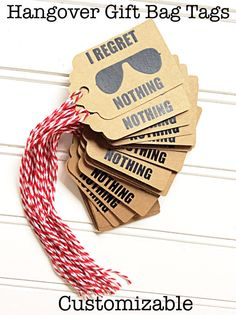 Hangover Gift Bag Tags by FirstsAndForevers on Etsy