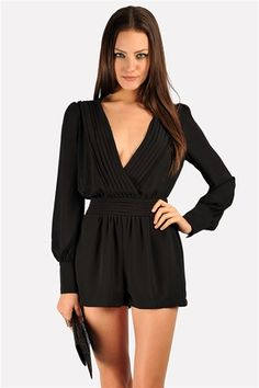 long-sleeved black romper-dress up with pumps and you're ready to go out! Get 10% off http://www.studentrate.com/miami/get-miami-student-deals/Necessary-Clothing-Student-Discount--/0