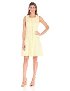 db3e28ce95a Amazon.com  Anne Klein Women s Dotted Jacquard Drop-Waist Seamed  Fit-and-Flare Dress  Clothing