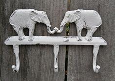 Elephant Coat Rack/ Wall Hook/ Cast Iron by Theshabbyshak on Etsy, $28.00