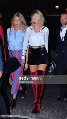Step Inside Tommy Hilfiger's Epic Fashion Week Carnival And Taylor Swift and Martha Hunt arrived in the collection to support their pal. Taylor Swift Hot, Taylor Swift Style, Velvet Thigh High Boots, Velvet Shoes, Taylor Swift Pictures, Red Boots, Tommy Hilfiger, Celebs, Street Style