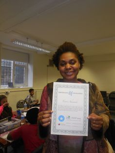 PAYP volunteer recieving her Certificate of Excellence for their amazing contribution on the course. Thank you!!!!
