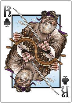 #Steampunk Deck - The Good Zeppelin Captain See More Here: http://www.kickstarter.com/projects/consorte/steampunk-goggles-playing-cards-deck-uspcc-bicycle