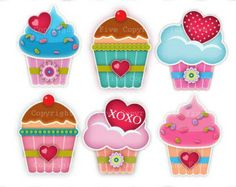 Digital Clip art Cupcakes with Love. Cute kitchen clipart images for digital scrapbooking, invitations cards. Children clip art Personal use