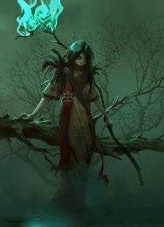 Fantasy Inspiration — madcat-world: Little Witch - Mikhail Palamarchuk Dark Fantasy, Fantasy Rpg, Fantasy Artwork, Fantasy World, Dnd Characters, Fantasy Characters, Female Characters, Fantasy Inspiration, Character Design Inspiration