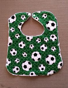 Baby Bib - Green with Soccer Balls - Baby Gift on Etsy, $10.00