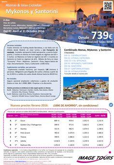 GRECIA - Oferta Ahorro 100E Especial Islas: Combinado Atenas - Mykonos y Santorini, 8 dias desde 739E