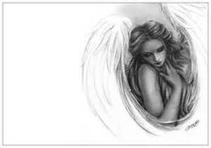 Angel Above Wings Satin Sky Heaven Art Print Emo Fantasy Girl Zindy Nielsen Angel Sketch, Angel Drawing, Wings Sketch, Drawing Hair, Fantasy Drawings, My Drawings, Pencil Drawings, Tattoos With Kids Names, Small Tattoos For Guys