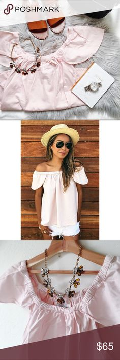 Sincerely Jules 'Carmen' pink off-the-shoulder top Feminine flutter sleeve top in a pale pink. Size medium runs large. 100% cotton. Sincerely Jules Tops Blouses