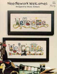 Needlework Welcomes: A Cross Stitch Chart by Imaginating Cross Stitch Quotes, Cross Stitch Books, Cross Stitch Needles, Cross Stitch Alphabet, Cross Stitch Samplers, Cross Stitch Kits, Cross Stitch Charts, Cross Stitch Designs, Cross Stitch Patterns