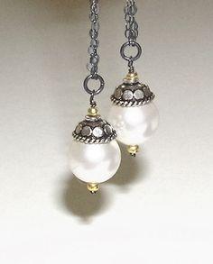 Oxidized Silver Swarovski Pearls Dangle Lever Back by SilvanaSagan, $30.00