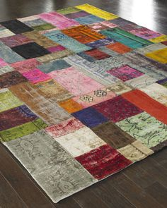 The rug is pieced together from antique Persian rugs. Beautiful!