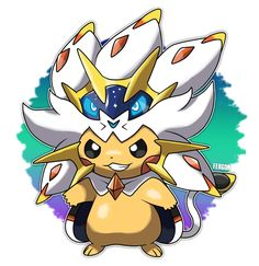 Pikachu dressed as Solgaleo
