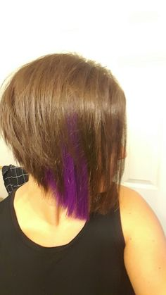 Angled bob with purple peekaboo highlights. I am in love with this haircut! Purple Peekaboo Highlights, Angled Bob Haircuts, Going Gray, Peek A Boos, Red Hair, Sunglasses Women, Cool Hairstyles, Hair Cuts, Hair Color