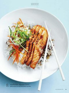 Grilled Salmon Rice-Bowl With Pickled Vegetables #ClippedOnIssuu from Donna hay magazine january 2015 au