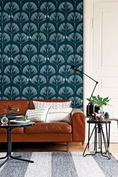 Self adhesive vinyl temporary removable wallpaper, wall decal - Ginkgo print - 051_b