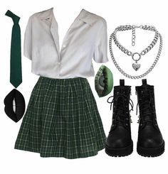 Kpop Fashion Outfits, Stage Outfits, Edgy Outfits, Retro Outfits, Cute Casual Outfits, Mode Harry Potter, Harry Potter Style, Slytherin Clothes, Looks Party