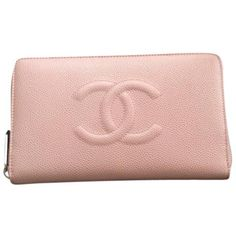 Pre-owned Chanel Caviar Wallet Brand New Pink Clutch ($1,500) ❤ liked on Polyvore featuring bags, handbags, clutches, pink, real leather purses, chanel purse, holographic purse, genuine leather purse and leather clutches