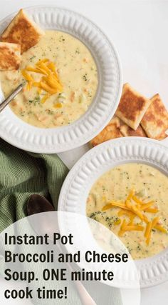 The best instant pot broccoli and cheese soup that is extra thick and creamy and the cooking time is only ONE minute!
