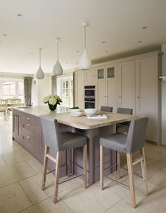 A Harvey Jones Shaker kitchen painted in Farrow & Ball 'Elephants Breath', 'Charleston Grey' and 'Pelt'. Multi finish countertops on island Kitchen Family Rooms, Living Room Kitchen, Home Decor Kitchen, Country Kitchen, New Kitchen, Home Kitchens, Kitchen Grey, Kitchen Modern, Kitchen Ideas
