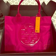 Tory burch large Ella tote in pink Large Ella tote. Rare pink color. NWT. Comes with dust bag. 100% authentic. My boyfriend bought me one as a surprise so someone needs to enjoy this one! Never used. Comes with dustbag. Open to offers. Can be flexible elsewhere. Tory Burch Bags Totes