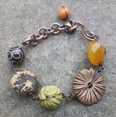 Amber Earth Eclectic Bracelet by stacilouise on Etsy,